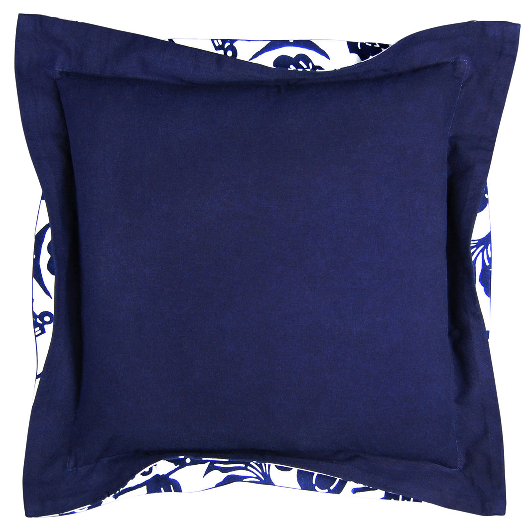 Indigo Double Flange Fish Bowl Pillow, 20 x 20 in