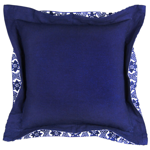 Indigo Double Flange On the Fence Pillow, 20 x 20 in