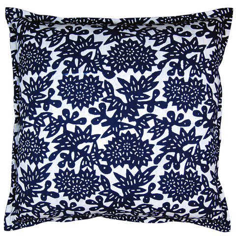 Indigo Flower Pillow, 22 x 22 in