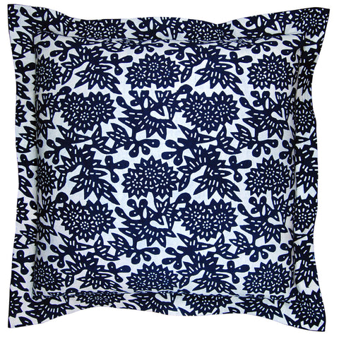 Indigo Flower Wide Flange Pillow, 24 x 24 in