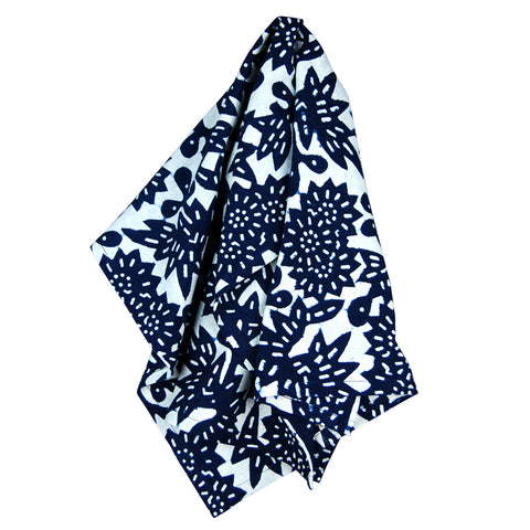 Indigo Flower Tea Towel