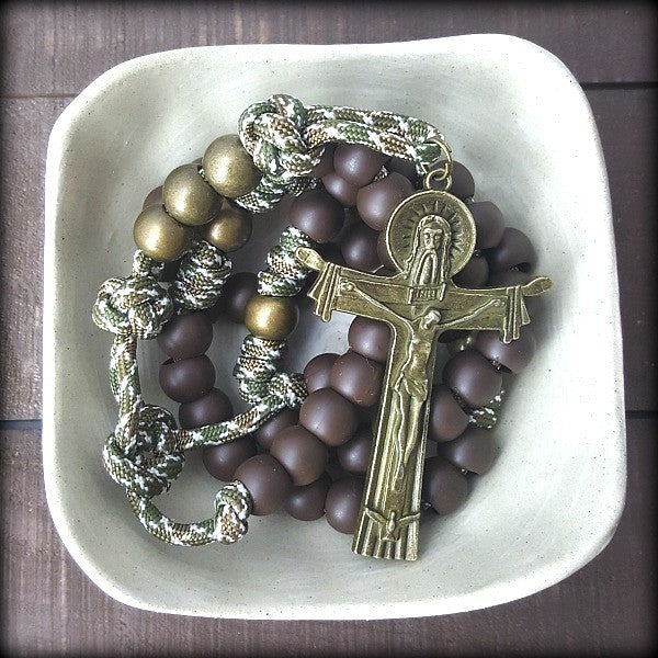 Paracord Soldier Rosary, Holy Trinity Crucifix, Men's Rosary