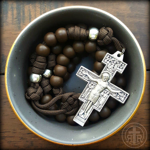 Earthy Acid Brown San Damiano Rosary