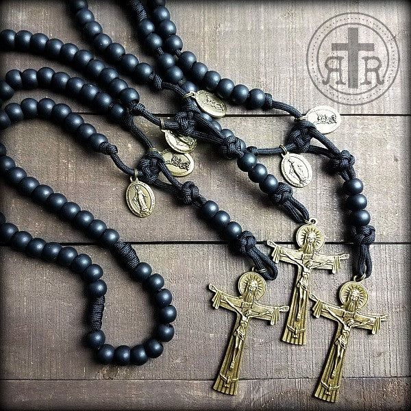 z- Custom Black Holy Trinity Rosaries for Kevin W