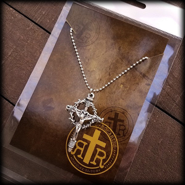 Rugged rosaries wwi combat rosaries catholic rosary beads crown of thorns crucifix pendant aloadofball Image collections