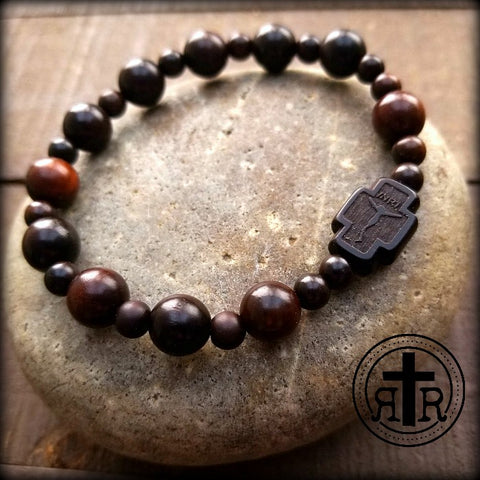 Dark Wood Rosary Bracelet