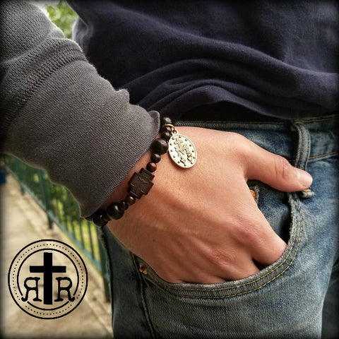 Men's Wood Rosary Bracelet