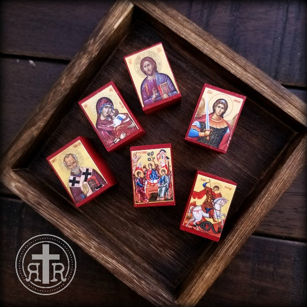 Mini Wood Block Icons - Set of 6