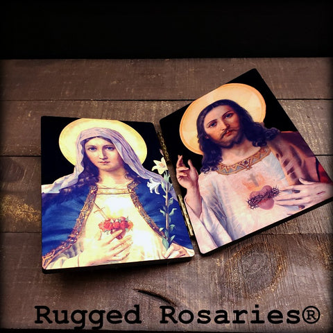 Immaculate and Sacred Heart Diptych on Wood
