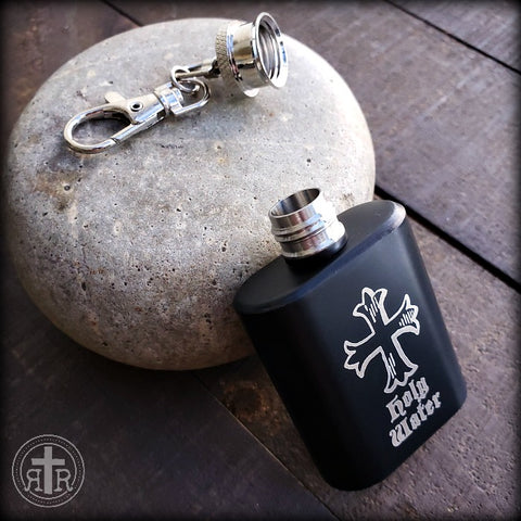 Black Holy Water Flask in Stainless Steel
