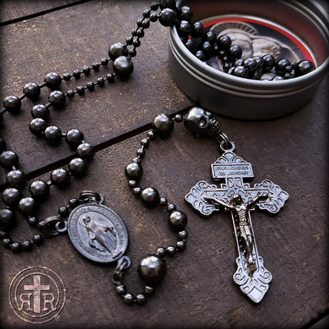 Memento Mori SKULL Rosary in Gunmetal - Strong Faith