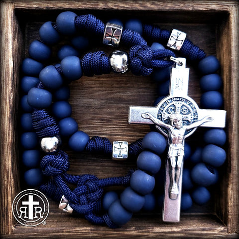 Blue paracord Unbreakable rosary - St. Benedict Rosary for men _ Men's Rosary - Roman Catholic Company - Catholic Rosaries - Rugged Rosaries