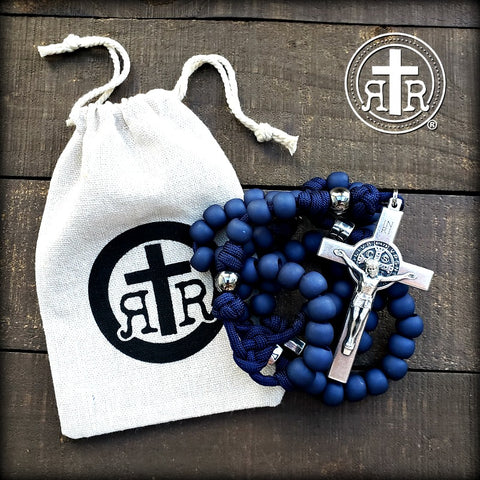Blue Benedict Rosary Beads