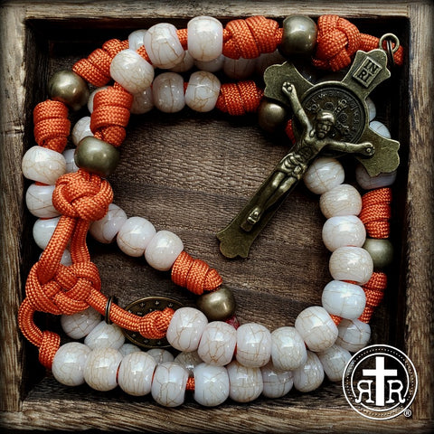 Rugged Orange Paracord Rosary
