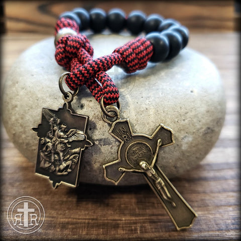 Christian and Catholic Pocket Rosary with Saint Michael - Paracord Rosaries - Rugged Rosaries - Catholic Gear - Unbreakable Rosary beads