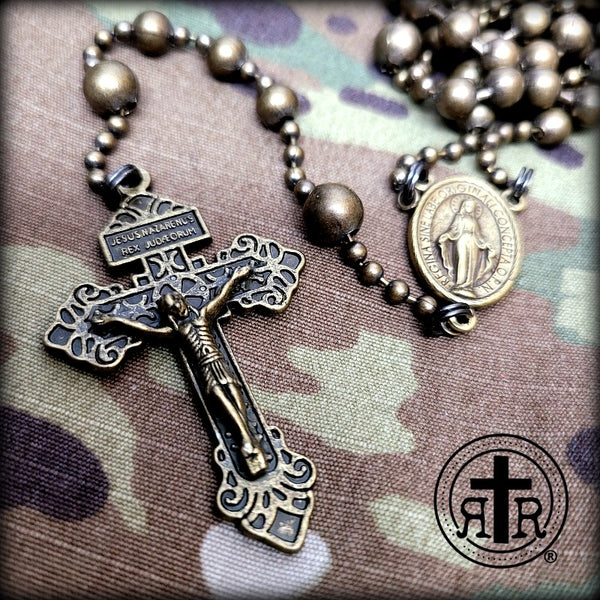 WWI Battle Beads® Combat Rosary - Brass Patina