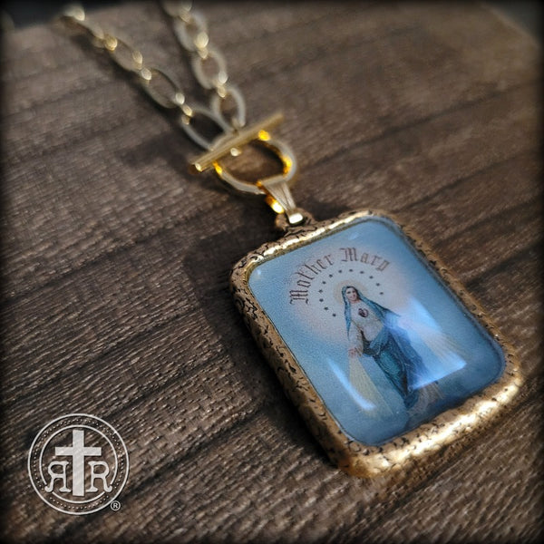 Mother Mary Pictoral Devotional Necklace