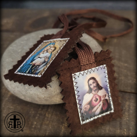 Brown Scapular of Our Lady of Mt. Carmel and the Sacred Heart of Jesus