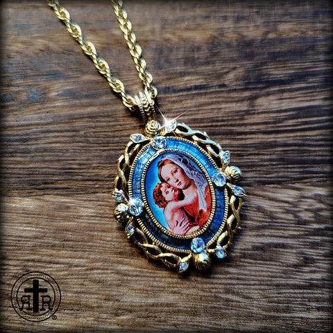 Mother Mary Pictoral Necklace - Set in a Gold Crown of Thorns