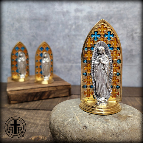 Colorful Stained Glass Our Lady of Guadalupe Tabletop Statue