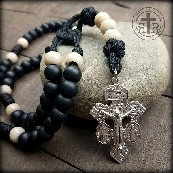 Salvation Black and White Rosary