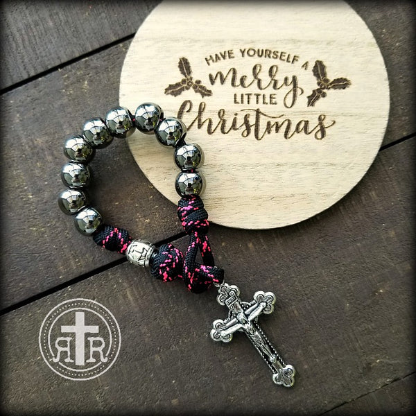 z- Custom Pink Pocket Rosary for Beau H