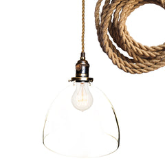 "Rustic Ship Rope 8"" Clear Shade Pendant Light"