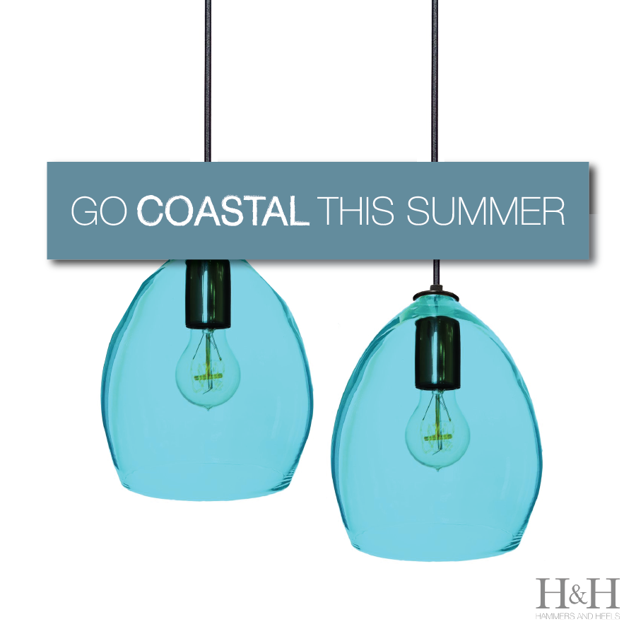 Coastal Design for Summer 2017 - Aqua Blue Handblown Glass Pendant Lighting