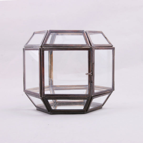 Geometric Metal & Glass Hexagon Votive Holder Decor