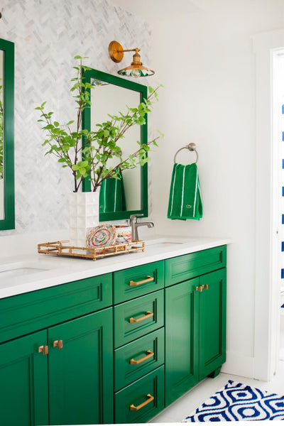 Green Vanity and Mirrors Add a Pop of Greenery in the Bathroom