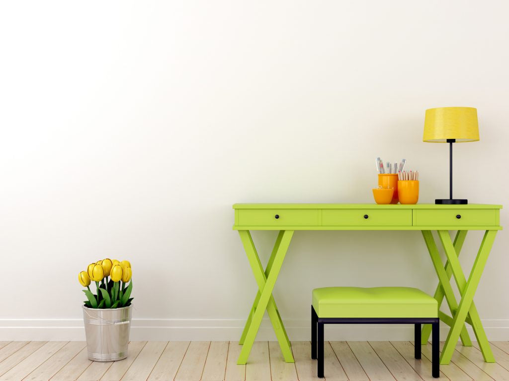 Bright Green Desk with Matching Bench