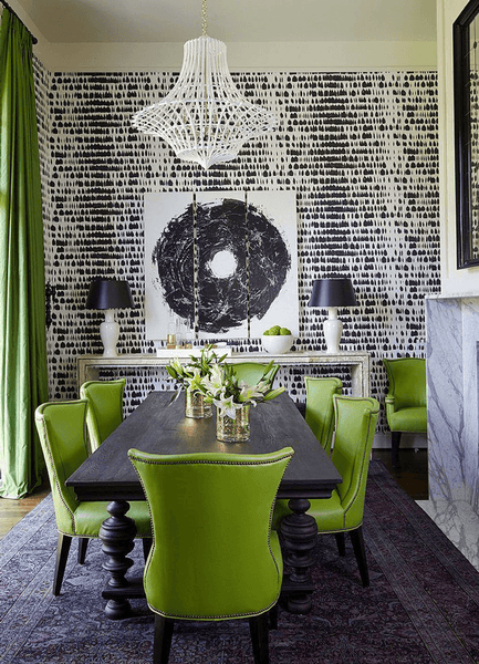Modern Black and White Dining Room with Bright Greenery Upholstered Chairs