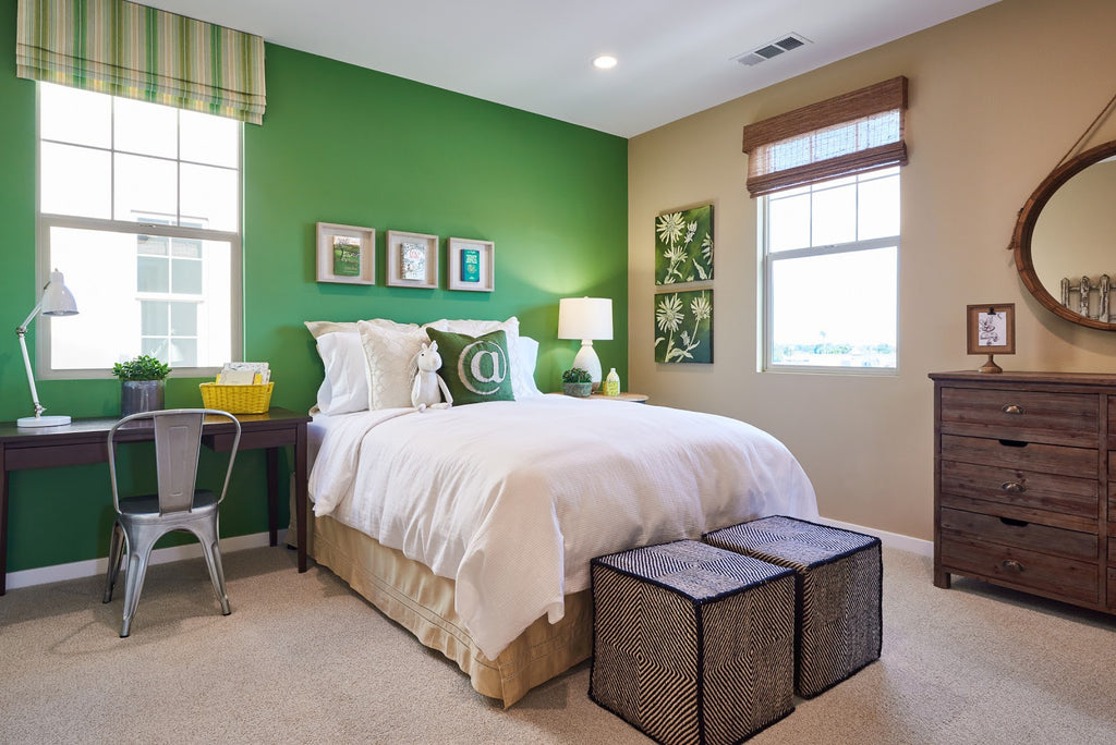Bedroom with Greenery Accent Wall and Valence