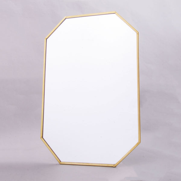 Large Hexagon Hanging Mirror With Gold Trim Geometric Interior Design Trend
