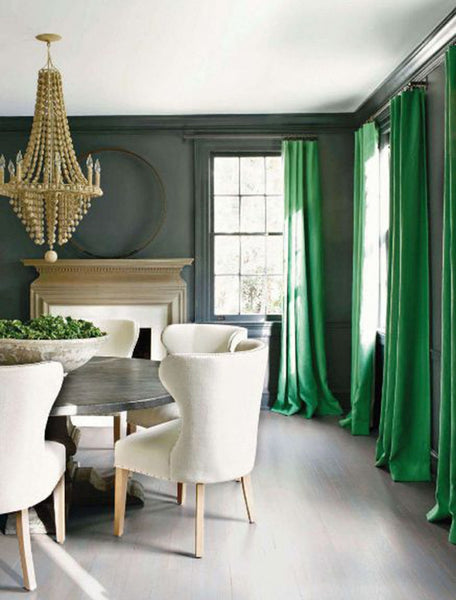 Green Curtains and Fresh Fruit Centerpiece Lighten Up a Gray Dining Room