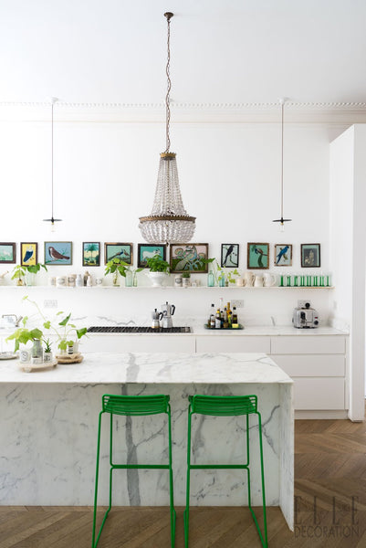 Bright and Airy Kitchen with POPs of Greenery Throughout