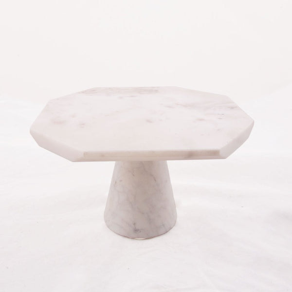 White Marble Hexagon Cake Stand - Geometric Kitchen Decor and Design Trends