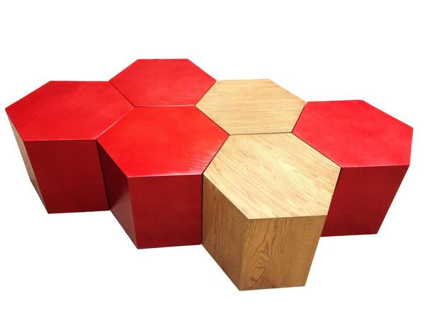 Customized Handmade Geometric Hexagon Hive Tables
