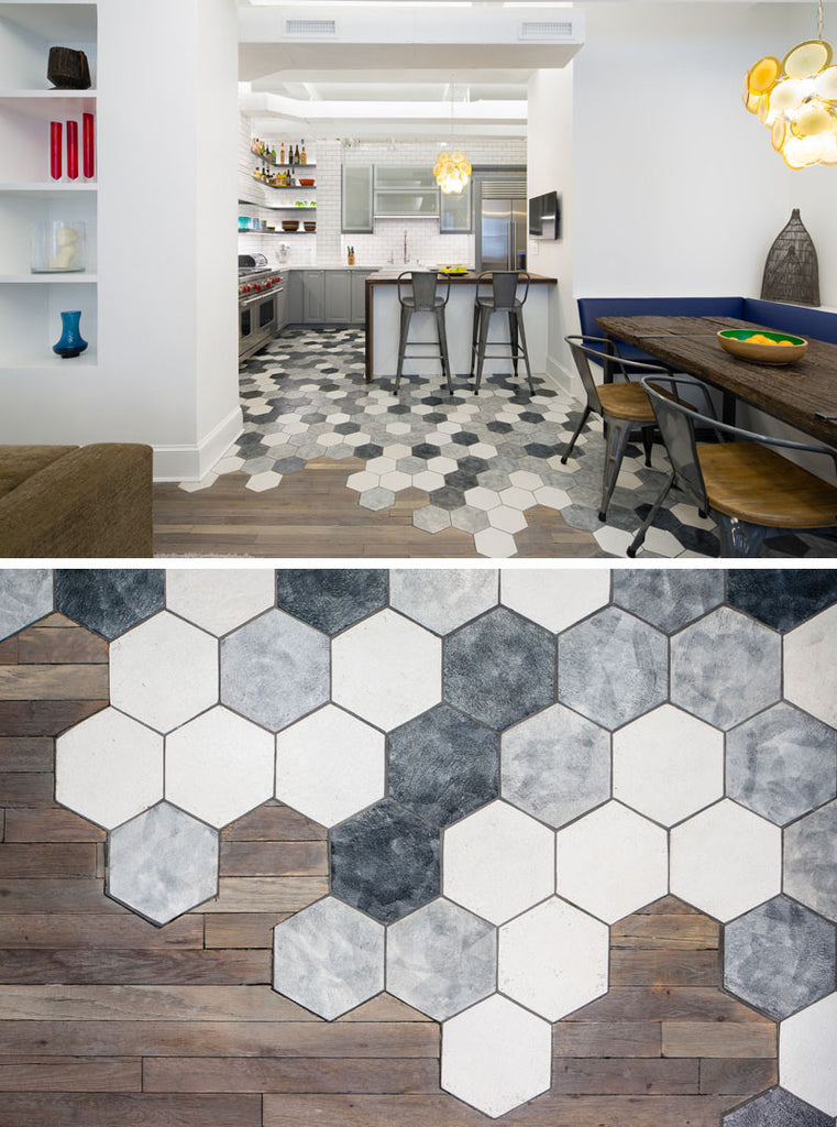 Hexagonal Tiles Meets Hardwood Floors in the Kitchen. Interior Design Ideas