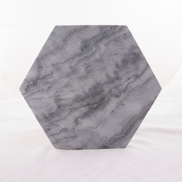 Gray Marble Hexagon Cheese Serving Board - Geometric Kitchen Decor