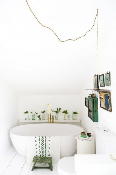 Bright All White Bathroom With A Touch of Green