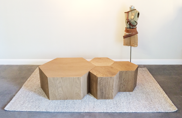 Walnut Hand Finished Geometric Hexagon Hive Tables