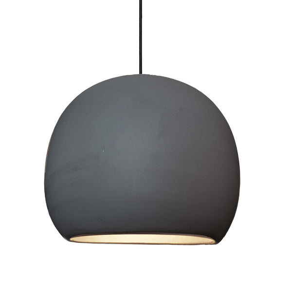 "12"" Matte Black Porcelain Globe Pendant Light - Black Cord- MADE IN USA"