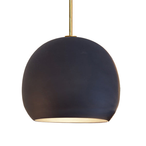 "12"" Matte Black Porcelain Globe Pendant Light - Brass Downrod- MADE IN USA"
