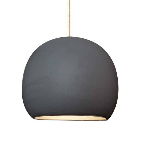 "12"" Matte Black Porcelain Globe Pendant Light - Brass Braided Cord- MADE IN USA"