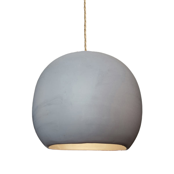 "12"" Matte Grey Porcelain Globe Pendant Light - Ship Rope Cord- Made in USA"