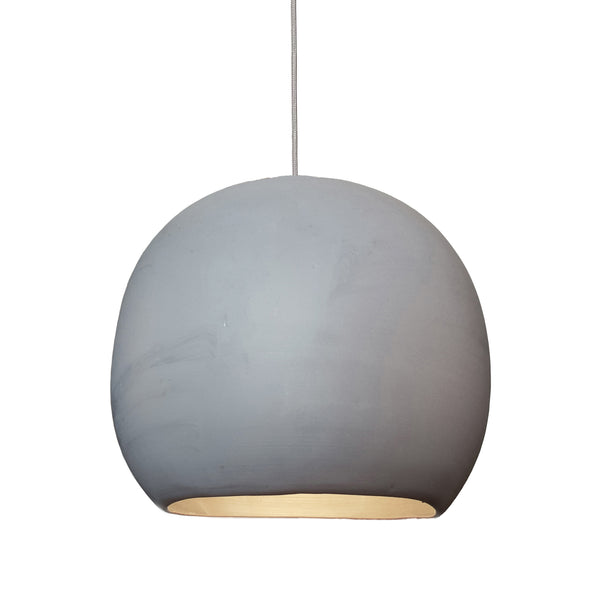 "12"" Matte Grey Porcelain Globe Pendant Light - Nickel Cord - Made in USA"