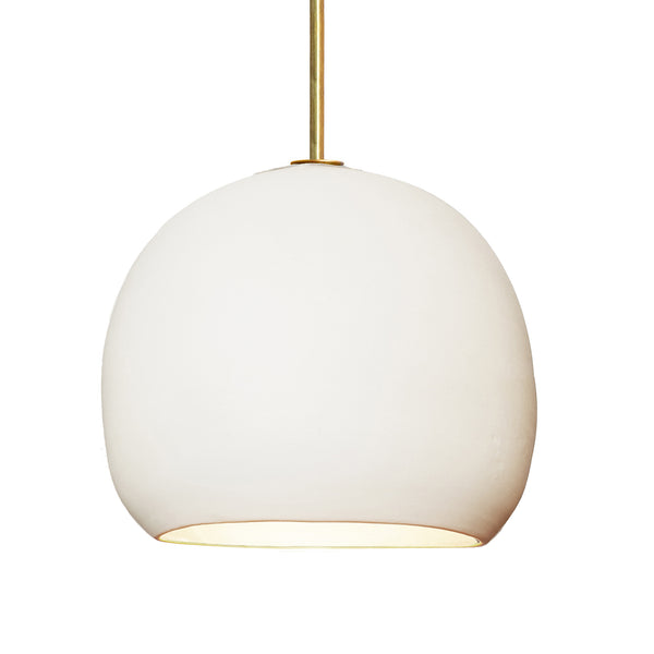 "12"" Matte White Porcelain Globe Pendant Light - Brass Downrod- MADE IN USA"