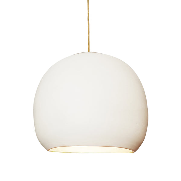 "12"" Matte White Porcelain Globe Pendant Light - Brass Cord - Made in USA"