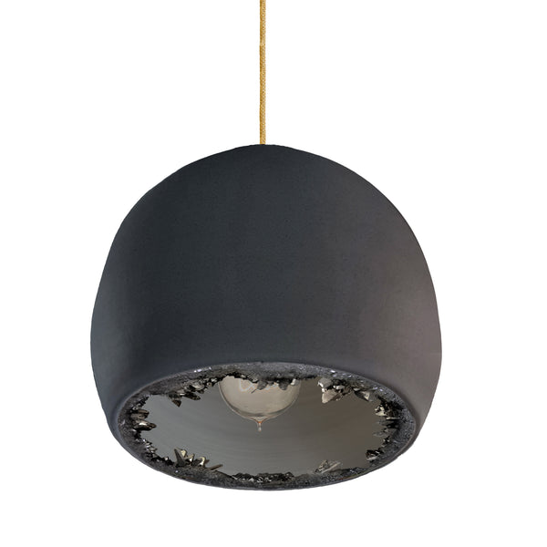 "12"" Matte Black Geode Crystal Pendant Light- Brass Cord"